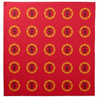 Svart kinesiskt symbol för Tea, gul drakegräns Tygservett