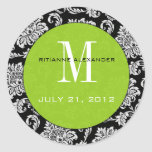 Svart klistermärke för bröllop för damastgröntMono