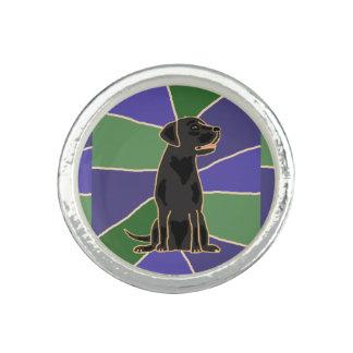 Svart konst för Labrador Retriever Ringar Med Foto