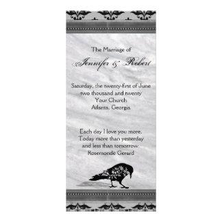 Svart korpsvart gotisk rambröllopsprogram reklamkort