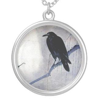 svart korpsvart soluppgång för vildfågelnatur silverpläterat halsband