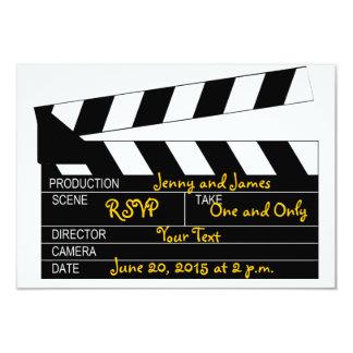 Svart kort för bröllop OSA för vitfilmtema 8,9 X 12,7 Cm Inbjudningskort
