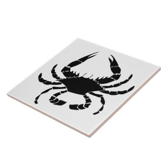 Svart krabba kakelplatta