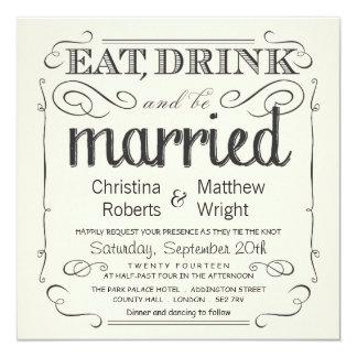 Svart & kräm- bröllopinbjudningar för lantlig fyrkantigt 13,3 cm inbjudningskort