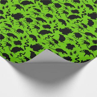 Svart kusligt Crawly mönster för Presentpapper