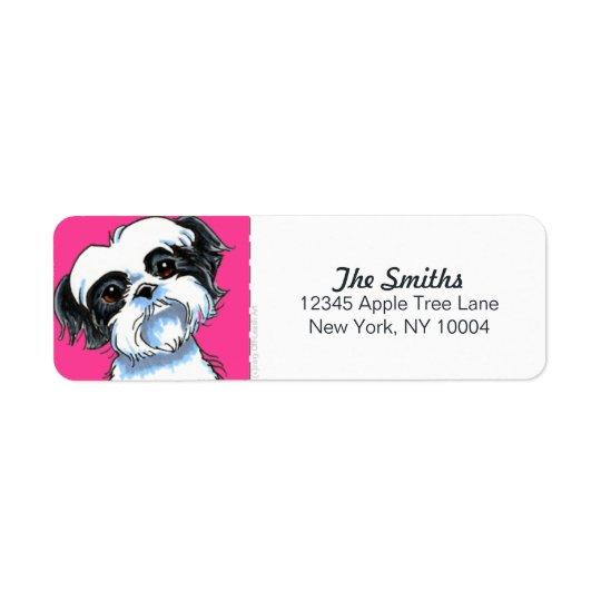 Svart kvarter för vitShih Tzu shock rosa Returadress Etikett