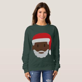 svart kvinna för jultomtenemojijulafton tröja