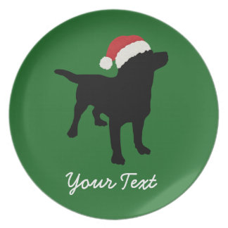 Svart lab hund med den julSanta hatten Tallrik