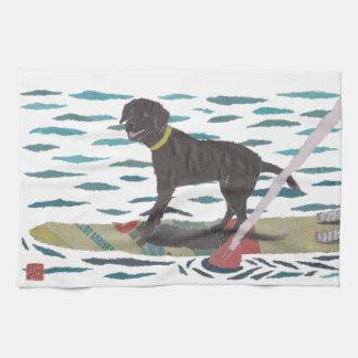 Svart lab Labrador Retriever, strandhund Kökshandduk