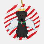 Svart lab prydnad för ängeljulhund julgransdekorationer