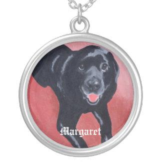 Svart Labrador för personlig le Silverpläterat Halsband