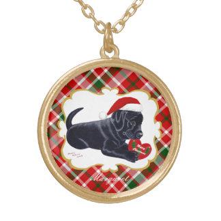 Svart Labrador för personligjul valp Guldpläterat Halsband