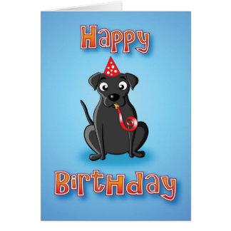 svart labrador - hat&whislte - grattis på födelsed hälsningskort