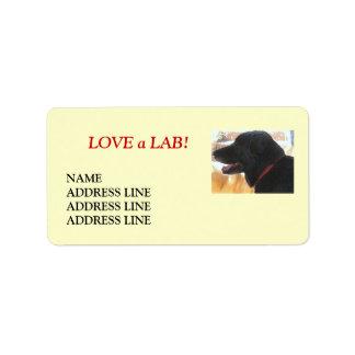 Svart Labrador Retriever - returadress Adressetikett