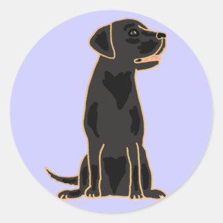 Svart Labrador rundaklistermärkear för AG Runt Klistermärke