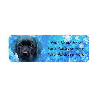 Svart Labrador - snöflingor Returadress Etikett