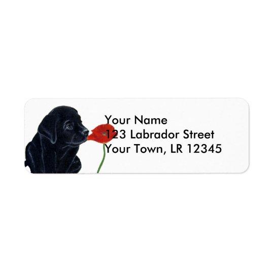 Svart Labrador valp och vallmo Returadress Etikett