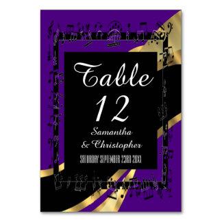 Svart lila- och guldpersonlig bordsnummer