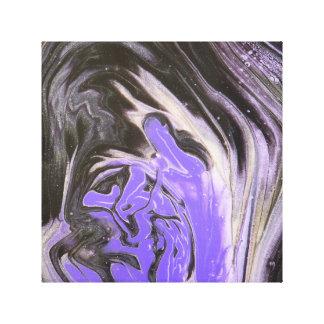 Svart lilor och akrylen för silverträdring häller canvastryck