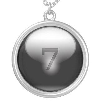 Svart lyckliga 7 silverpläterat halsband