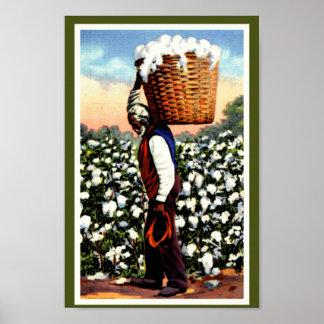 Svart man för fält för Amerika vintagebomull Poster