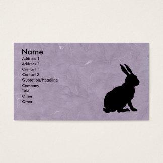 Svart marmorerade lilor för kanin Silhouette Visitkort