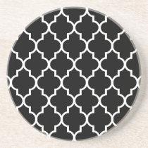 Svart marockanskt Quatrefoil mönster Glasunderlägg I Sandsten