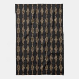 Svart med den bruna handduken för Tea för diamantr Kökshandduk