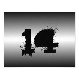 Svart metallisk Grungepojkefödelsedagsfest 10,8 X 14 Cm Inbjudningskort