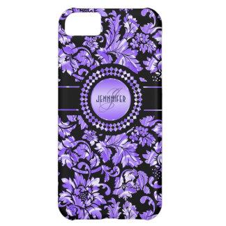 Svart & metallisk purpurfärgad iPhone 5C fodral