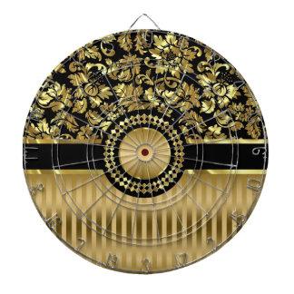 Svart & metalliska guld- blom- damaster & randar darttavla