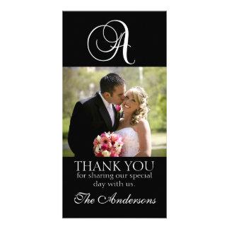 Svart Monogram ett kort för brölloptackfoto