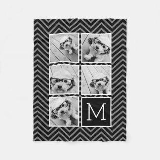 Svart Monogram för Collage för vitInstagram 5 foto Fleecefilt