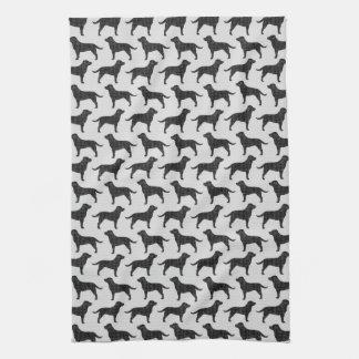 Svart mönster för Silhouettes för Labrador Kökshandduk