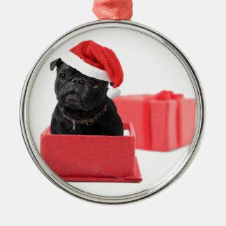 Svart mopshundgåva eller gåva julgransprydnad metall