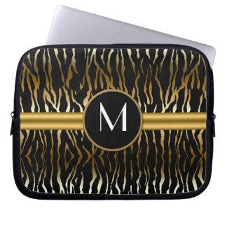 Svart mörk guld- zebra tryckMonogramlaptop sleeve Laptopskydd