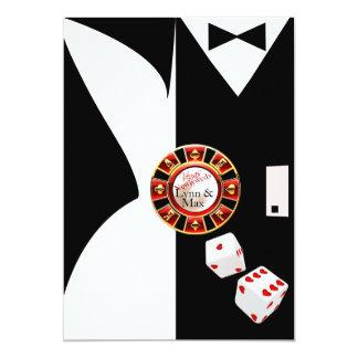 Svart mottagande för bröllop Vegas för vit för nya 12,7 X 17,8 Cm Inbjudningskort