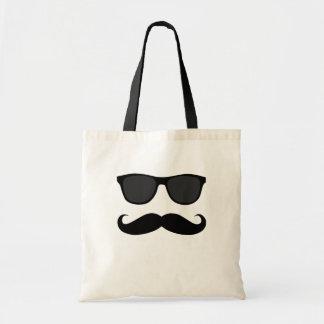 Svart Moustache och solglasögonhumorgåva Tygkasse
