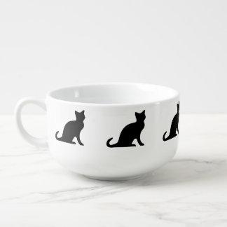 Svart mugg för kattsoppabunke | med mugg för soppa