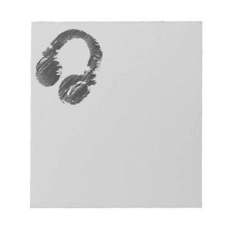 svart musikdeejayheadphone anteckningsblock
