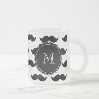 Svart mustaschmönster din Monogram Kaffe Kopp