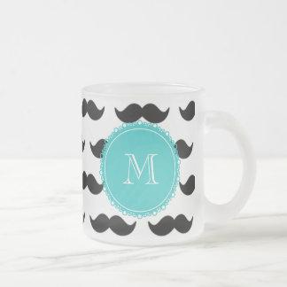 Svart mustaschmönster, krickaMonogram Kaffe Mugg