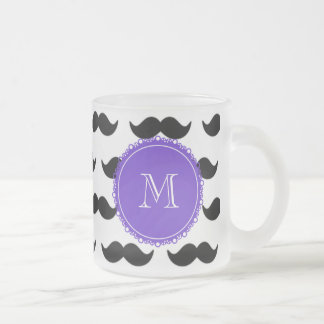 Svart mustaschmönster, purpurfärgad Monogram Kaffe Muggar