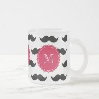 Svart mustaschmönster röd Monogram Kaffe Mugg