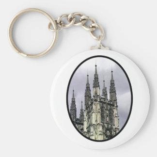 Svart nolla för England Canterbury kyrkaspiraler M Nyckel Ring