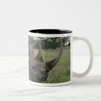Svart noshörning, Dicerosbicornis, Kenya 2 Två-Tonad Mugg