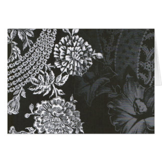 Svart Nouveau blommigt… notecard OBS Kort
