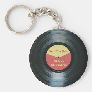 Svart nyckelring för vinylmusikbröllop spara datum