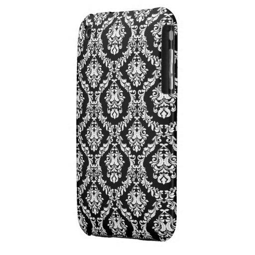 Svart och fodral för WhiteDamask designblackberry  iPhone 3 Case-Mate Skydd