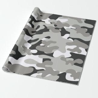 Svart och grå Camo design Presentpapper